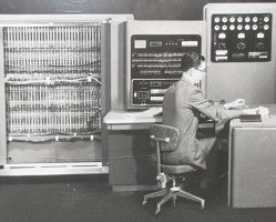 1955: IBM 701 - Peak performance, 1000 operations per second.  Sustained performance, 300 operations per second.